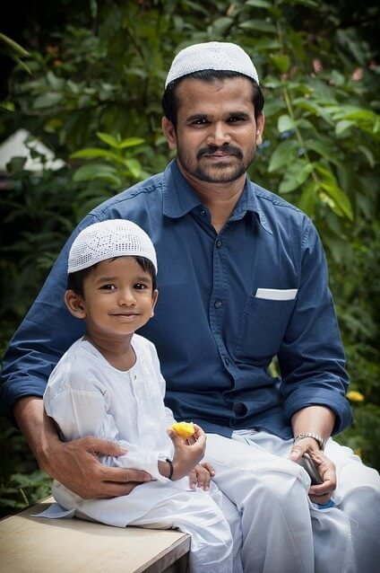 vegan Muslim father and son